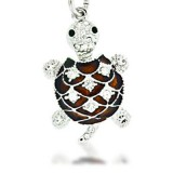 Brown Turtle Keychain made with Swarovski Crystals