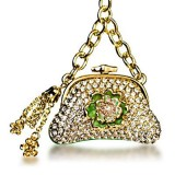Gold Purse Keychain made with Swarovski Crystals
