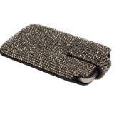 iPhone Case Made w/ Swarovski Crystals - Black Leather with Black Diamond Crystals
